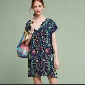 New Anthropologie Maeve Medallion silk dress XL